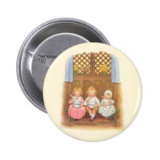 Comptine vintage des enfants chauds de gruau de badge rond 5 cm