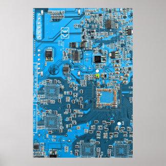 Computer-Aussenseiter-Leiterplatte - Blau Poster