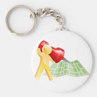 Concept de personne d or de goupille de carte porte-clef