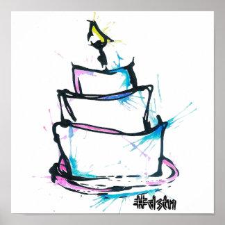 Conception de gâteau d'impression de toile affiche