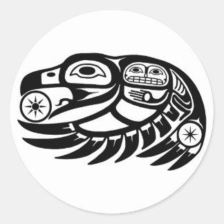 Conception de Natif américain de Raven Sticker Rond