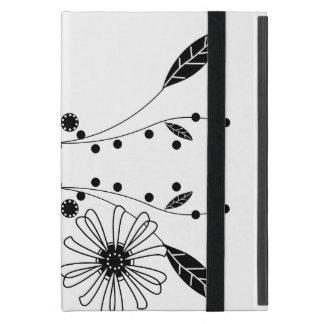 Conception florale noire et blanche débordante étuis iPad mini