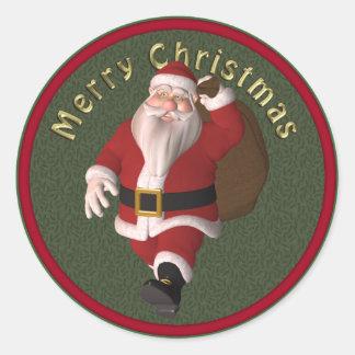 Conception mignonne et lunatique de Père Noël Sticker Rond