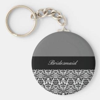 conception noire, blanche et grise 2 de damassé porte-clé