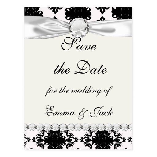conception romantique blanche et noire de damassé cartes postales
