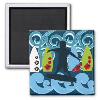 Conception surfante d'océan de plage de type frais magnet carré