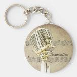 Conception vintage Keychain de microphone Porte-clef