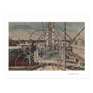 Coney Island, NY - schießen Sie die Schutes Fahrt Postkarte