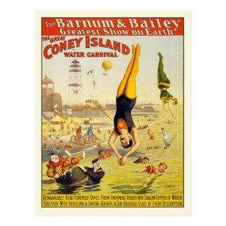 Coney Island-Wasser-Karnevals-Postkarten-Plakat Postkarte