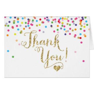 Confetti-GoldGlitter danken Ihnen die gefaltete Karte