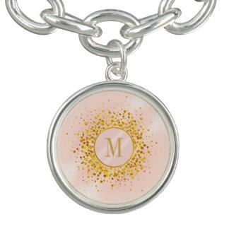 Confetti-Monogramm-Rosen-Goldfolie ID445 Armband