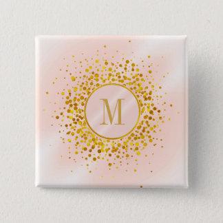 Confetti-Monogramm-Rosen-Goldfolie ID445 Quadratischer Button 5,1 Cm