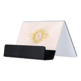 Confetti-Monogramm-Rosen-Goldfolie ID445 Schreibtisch-Visitenkartenhalter