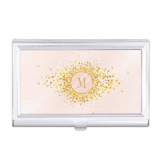 Confetti-Monogramm-Rosen-Goldfolie ID445 Visitenkarten Dose