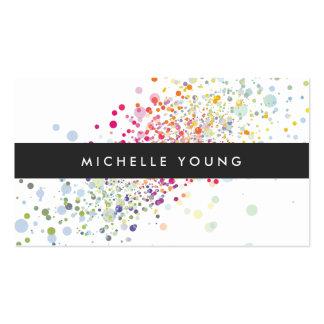 Confettis colorés Bokeh sur moderne blanc Carte De Visite Standard