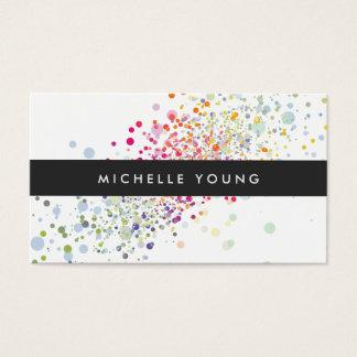 Confettis colorés Bokeh sur moderne blanc Cartes De Visite