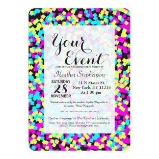Confettis multicolores au néon d'amusement carton d'invitation  12,7 cm x 17,78 cm