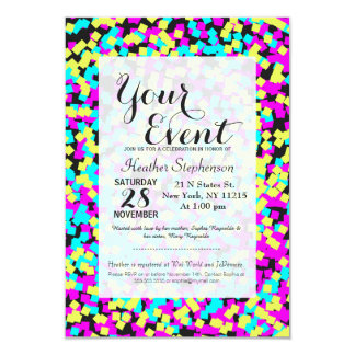 Confettis multicolores au néon d'amusement carton d'invitation 8,89 cm x 12,70 cm