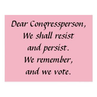 Congressperson widerstehen fortbestehen sich postkarte
