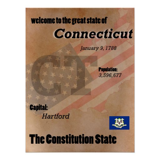 Connecticut der Konstitutions-Staats-Klassiker Poster