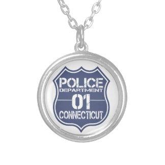 Connecticut-Polizeidienststelle-Schild 01 Versilberte Kette