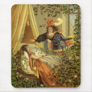 Conte de fées victorien vintage, beauté de sommeil tapis de souris