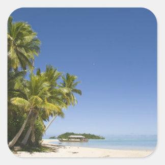 Cookinseln, Aitutaki. Polynesischer Kanuausflug zu Quadratsticker