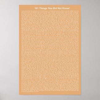 Coole 101 Sachen, die Sie nicht kannten (Aprikose) Poster