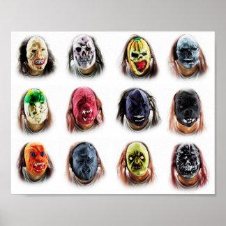 Coole beängstigende Masken Poster