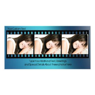 Coole blaue Filmstrip Foto-Karte, jeder Anlass Fotokarten