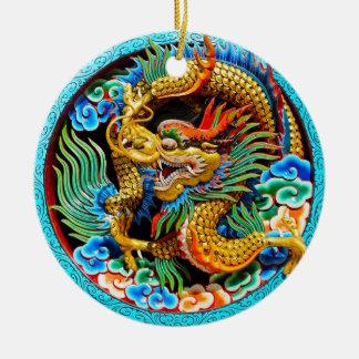 Coole chinesische bunte Drachelotos-Blumenkunst Keramik Ornament