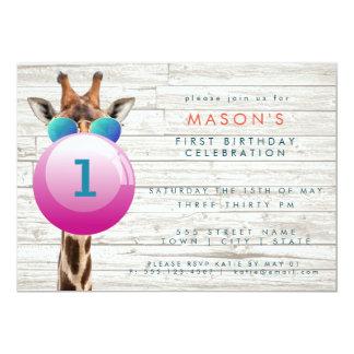 Coole Giraffe und Bubblegum | Party Einladung