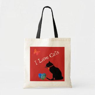 Coole i-Liebe-Katzen rot und weiße grafische Tragetasche