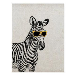 Coole niedliche lustige Zebraskizze mit trendy Postkarte