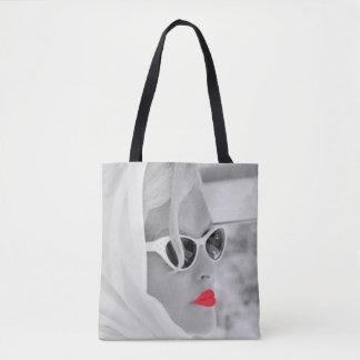Coole rote LippenRetro Frauen-grafische Tasche
