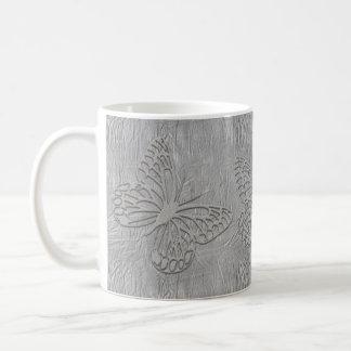 Coole silbernes Grau-Schmetterlings-Seide gemasert Kaffeetasse