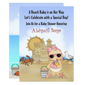 Coole Strand-Baby-Mädchen-Baby-Duschen-Einladung Karte