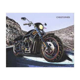Coole Vintage Straßen-glühender Motorrad-Chopper Leinwanddruck