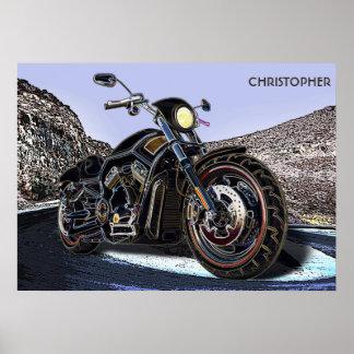 Coole Vintage Straßen-glühender Motorrad-Chopper Poster