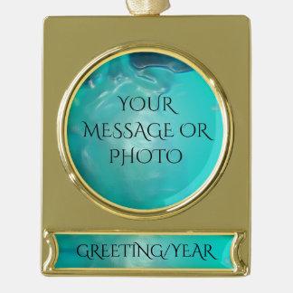 Cooler aquamariner blauer flüssiger Plastikentwurf Banner-Ornament Gold