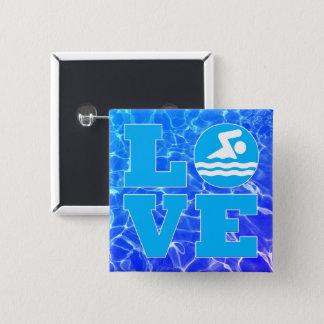 Cooler blauer Pool-WasserSwim LIEBE Trainer oder Quadratischer Button 5,1 Cm