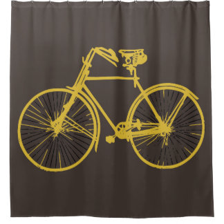 Cooler Brown-Goldgelbfahrrad 🚵 Duschvorhang
