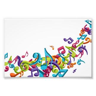 Cooler bunter Musiknoten u. Tonmusikmode Photographischer Druck