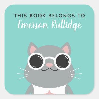 Cooler grauer Türkis der Katzen-| dieses Buch Quadratischer Aufkleber