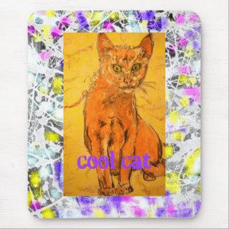 cooler Katzen-Tropfenslogan Mousepads