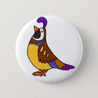 Cooler künstlerischer Wachtel-Vogel-Cartoon Runder Button 5,7 Cm