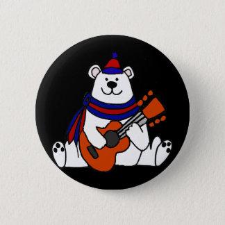 Cooler polarer Bär, der Gitarren-T - Shirt spielt Runder Button 5,1 Cm