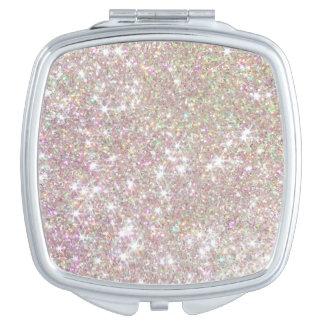 Cooler rosa Rosen-GoldGlitter-Vertrags-Spiegel Taschenspiegel