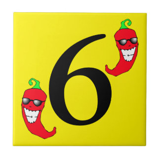 Cooler roter Chili-Pfeffer-heiße Zahl 6 sechs Fliese
