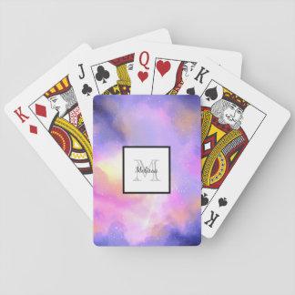 Cooler Surreal Raum bewölkt Watercolor-Monogramm Spielkarten